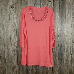 Catherine's Coral Beaded Embellished Tunic Top